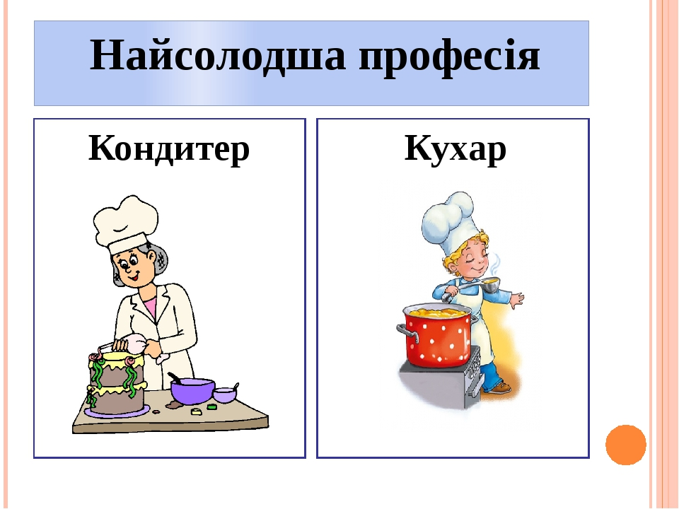 Найсолодша професія Кондитер Кухар