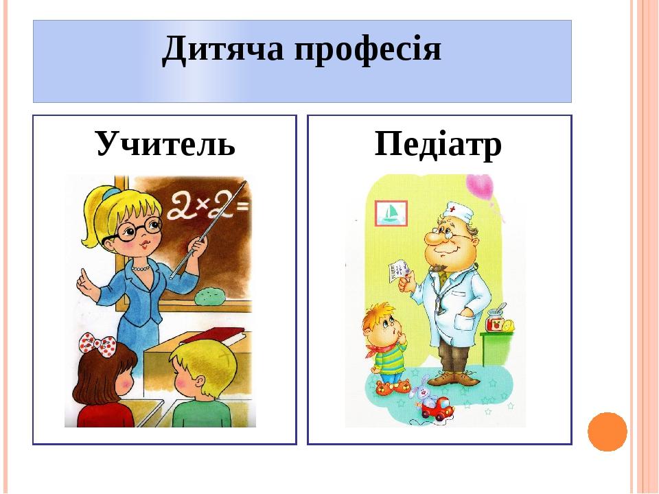 Дитяча професія Учитель Педіатр