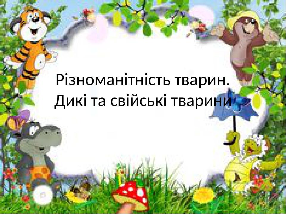 Різноманітність тварин. Дикі та свійські тварини