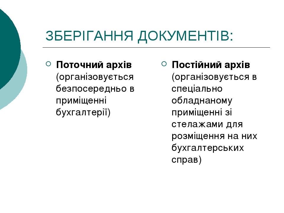 ЗБЕРІГАННЯ ДОКУМЕНТІВ: Поточний архів (організовується безпосередньо в приміщенні бухгалтерії) Постійний архів (організовується в спеціально обладн...