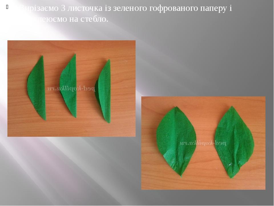 Вирізаємо 3 листочка із зеленого гофрованого паперу і приклеюємо на стебло.