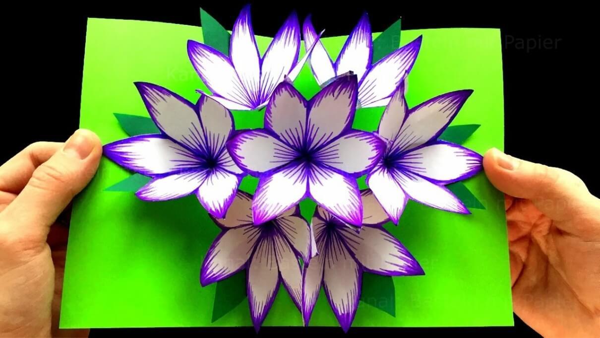 Как сделать из бумаги цветок для открытки