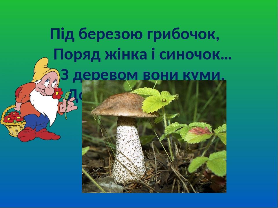 Під березою грибочок, Поряд жінка і синочок… З деревом вони куми, Добре знаємо їх ми!