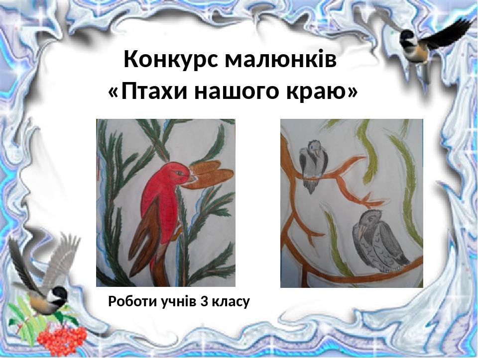 Роботи учнів 3 класу Конкурс малюнків «Птахи нашого краю»