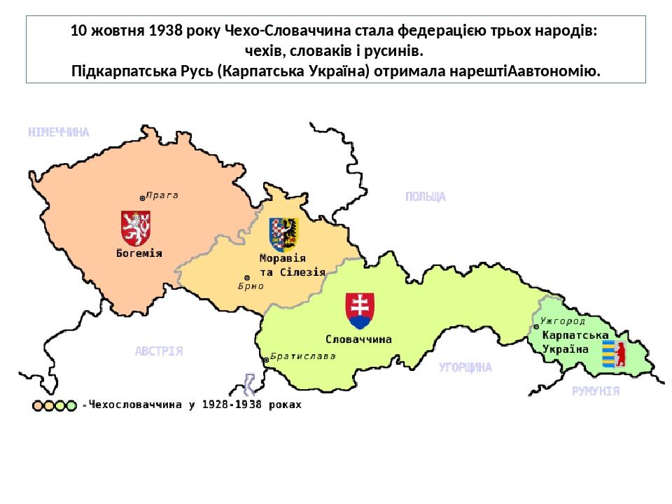 10 жовтня 1938 року Чехо-Словаччина стала федерацією трьох народів: чехів, словаків і русинів. Підкарпатська Русь (Карпатська Україна) отримала нар...