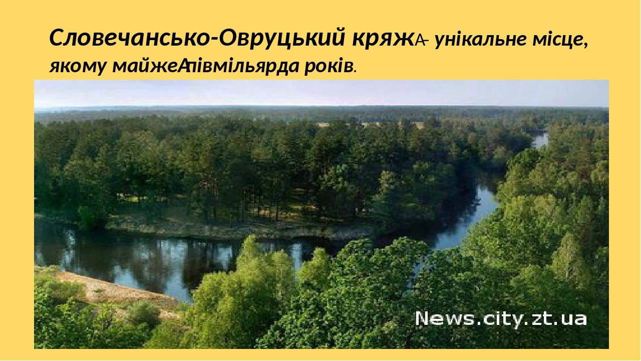 Словечансько-Овруцький кряж– унікальне місце, якому майжепівмільярда років.