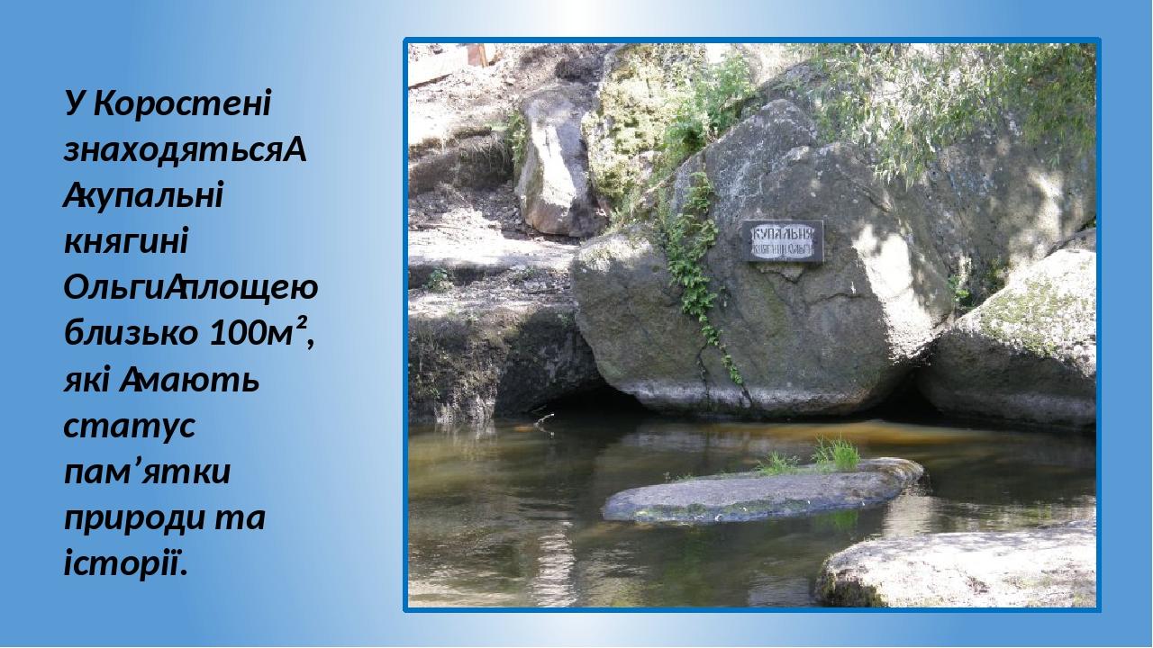 У Коростені знаходяться купальні княгині Ольгиплощею близько 100м², які мають статус пам'ятки природи та історії.