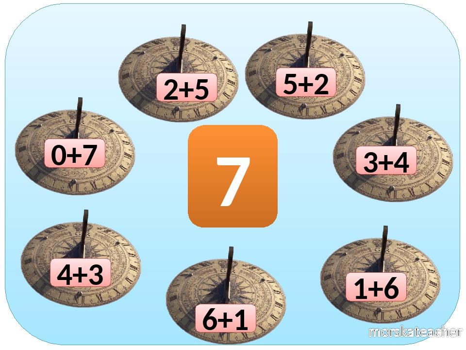 0+7 1+6 2+5 3+4 4+3 6+1 7 5+2