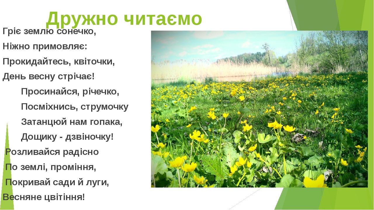 Дружно читаємо Гріє землю сонечко, Ніжно примовляє: Прокидайтесь, квіточки, День весну стрічає! Просинайся, річечко, Посміхнись, струмочку Затанцюй...