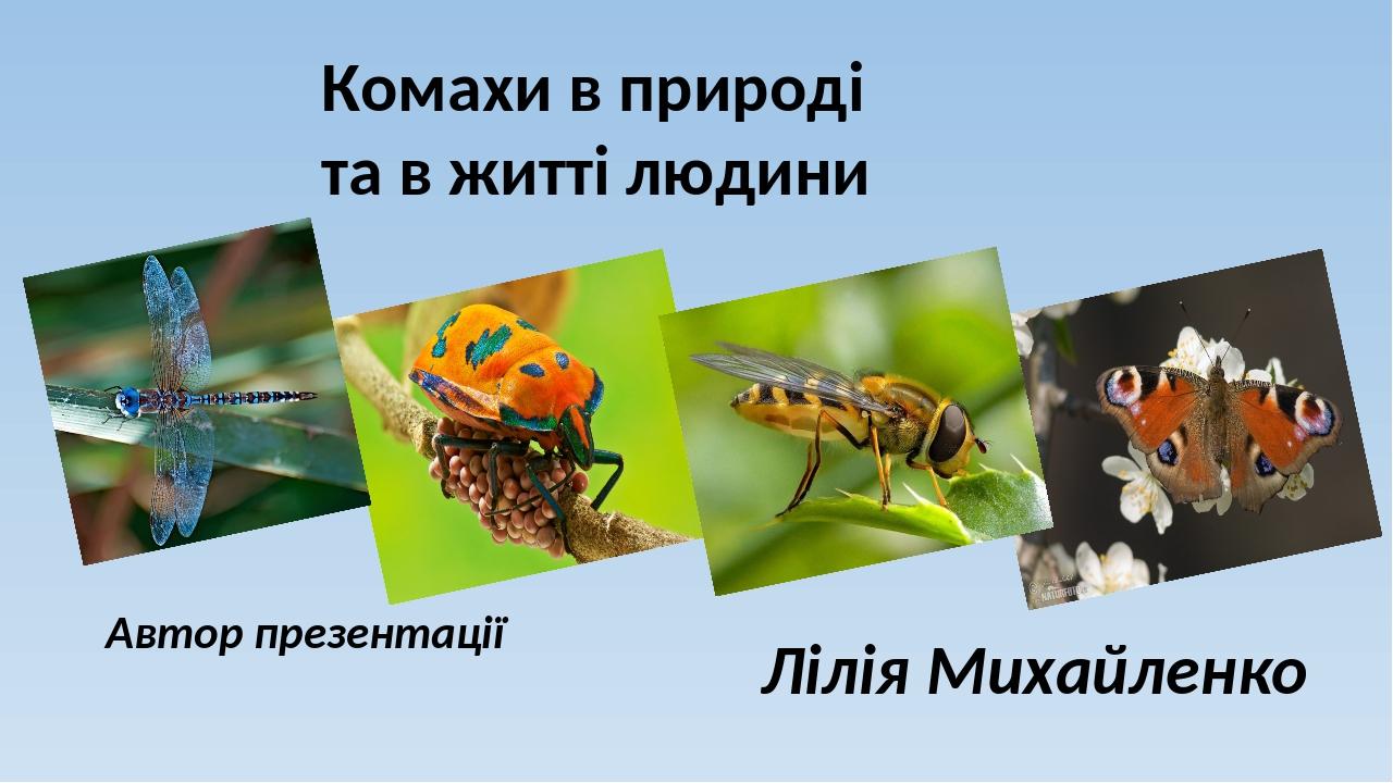 Комахи в природі та в житті людини Автор презентації Лілія Михайленко