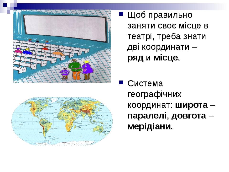 Щоб правильно заняти своє місце в театрі, треба знати дві координати – ряд и місце. Система географічних координат: широта – паралелі, довгота – ме...