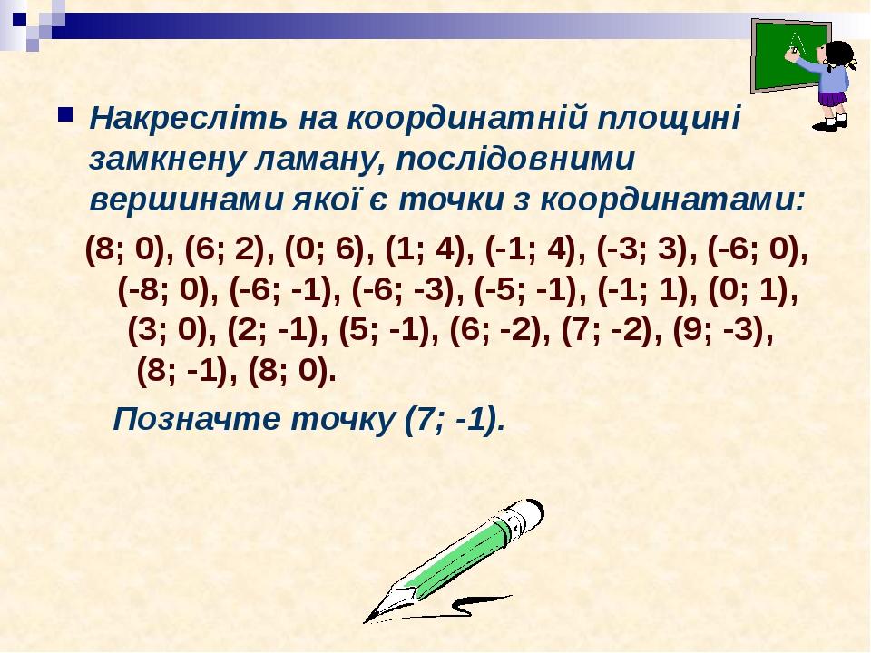 Накресліть на координатній площині замкнену ламану, послідовними вершинами якої є точки з координатами: (8; 0), (6; 2), (0; 6), (1; 4), (-1; 4), (-...