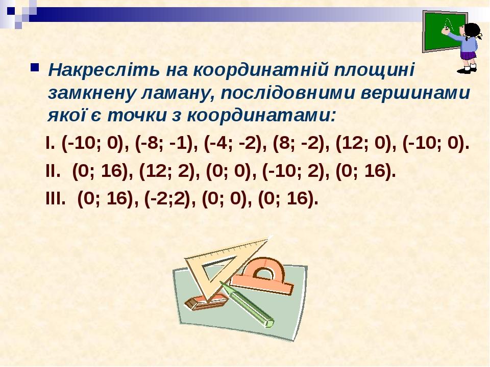 Накресліть на координатній площині замкнену ламану, послідовними вершинами якої є точки з координатами: І. (-10; 0), (-8; -1), (-4; -2), (8; -2), (...