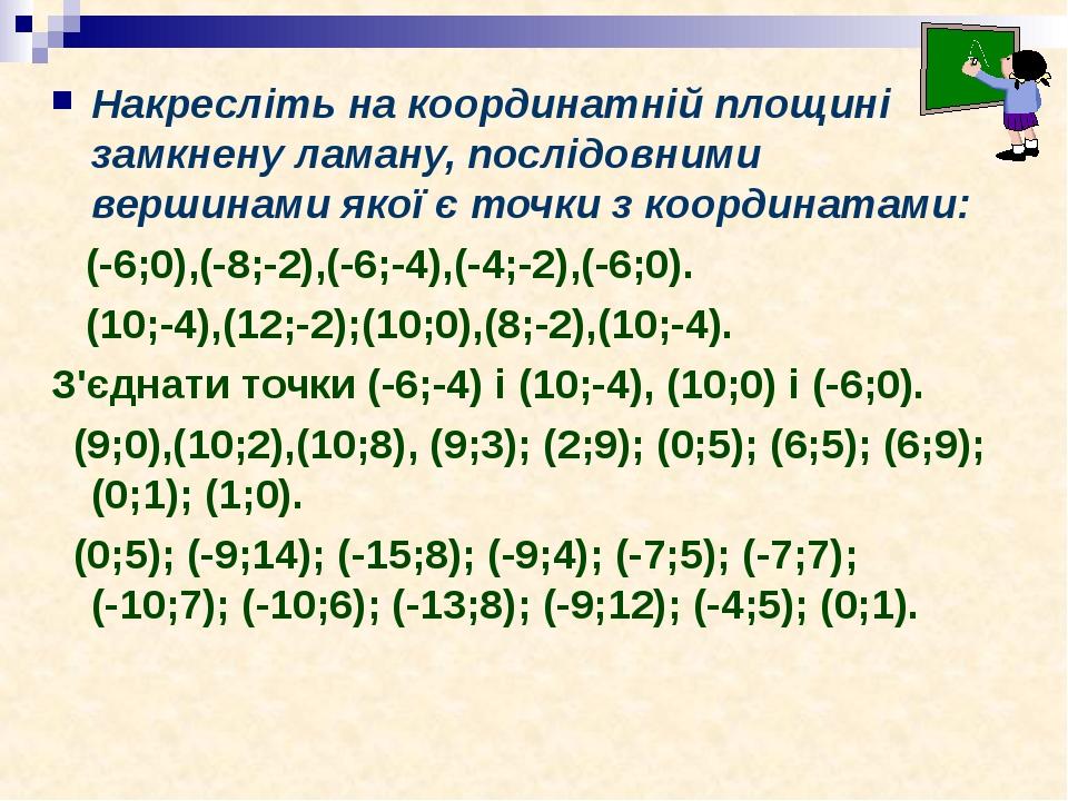 Накресліть на координатній площині замкнену ламану, послідовними вершинами якої є точки з координатами: (-6;0),(-8;-2),(-6;-4),(-4;-2),(-6;0). (10;...