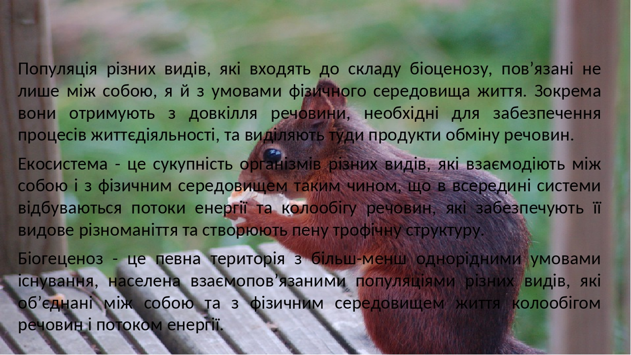 Популяція різних видів, які входять до складу біоценозу, пов'язані не лише між собою, я й з умовами фізичного середовища життя. Зокрема вони отриму...