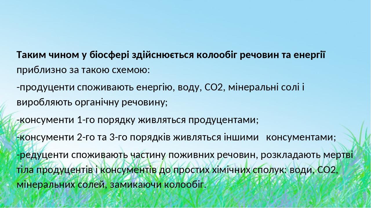 Таким чином у біосфері здійснюється колообіг речовин та енергії приблизно за такою схемою: -продуценти споживають енергію, воду, СО2, мінеральні со...