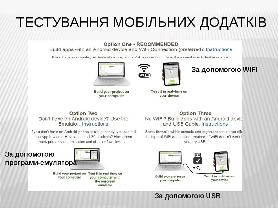 ТЕСТУВАННЯ МОБІЛЬНИХ ДОДАТКІВ За допомогою WiFi За допомогою програми-емулятора За допомогою USB