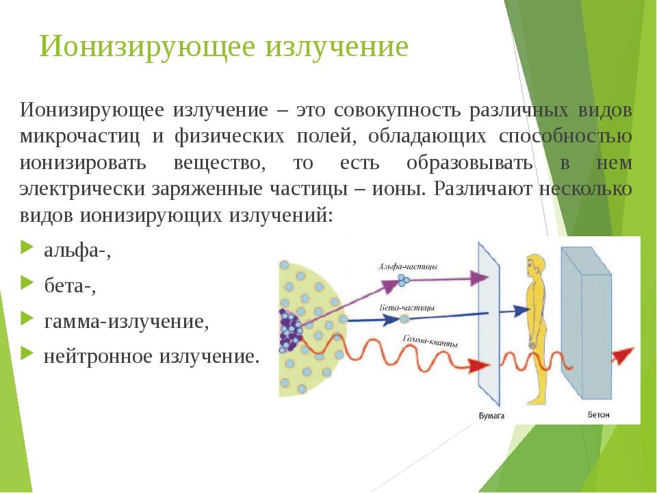 Ионизирующее излучение Ионизирующее излучение – это совокупность различных видов микрочастиц и физических полей, обладающих способностью ионизирова...