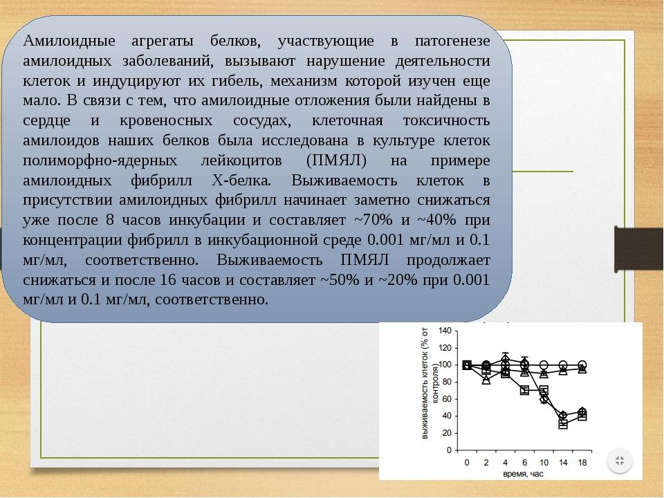 Амилоидные агрегаты белков, участвующие в патогенезе амилоидных заболеваний, вызывают нарушение деятельности клеток и индуцируют их гибель, механиз...