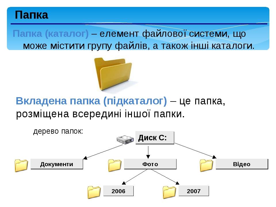 Папка Папка (каталог) – елемент файлової системи, що може містити групу файлів, а також інші каталоги. Вкладена папка (підкаталог) – це папка, розм...