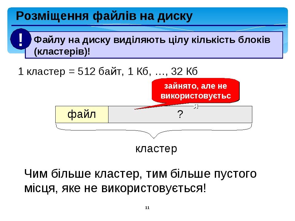 * Розміщення файлів на диску 1 кластер = 512 байт, 1 Кб, …, 32 Кб кластер зайнято, але не використовується Чим більше кластер, тим більше пустого м...