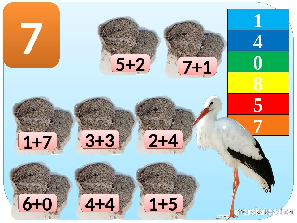 1+7 1+5 2+4 3+3 4+4 6+0 7 7+1 5+2 1 4 7 0 8 5