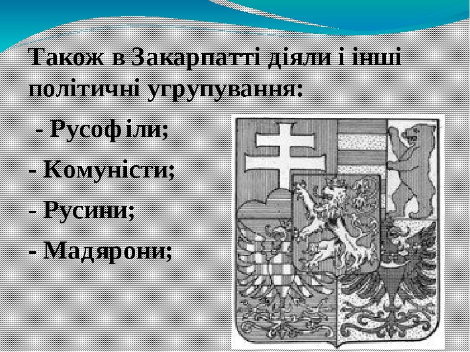 Також в Закарпатті діяли і інші політичні угрупування: - Русофіли; - Комуністи; - Русини; - Мадярони;