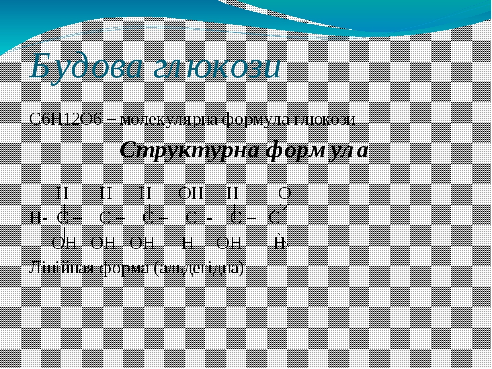 Будова глюкози С6Н12О6 – молекулярна формула глюкози Н Н Н ОН Н О Н- С – С – С – С - С – С ОН ОН ОН Н ОН Н Лінійная форма (альдегідна) Структурна ф...