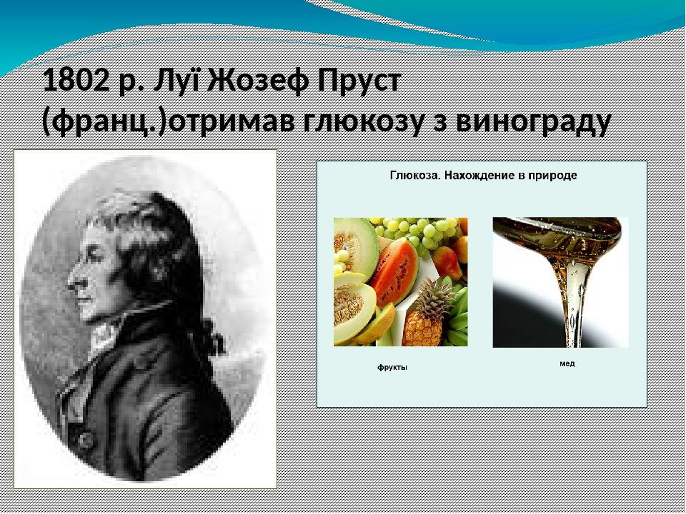 1802 р. Луї Жозеф Пруст (франц.)отримав глюкозу з винограду