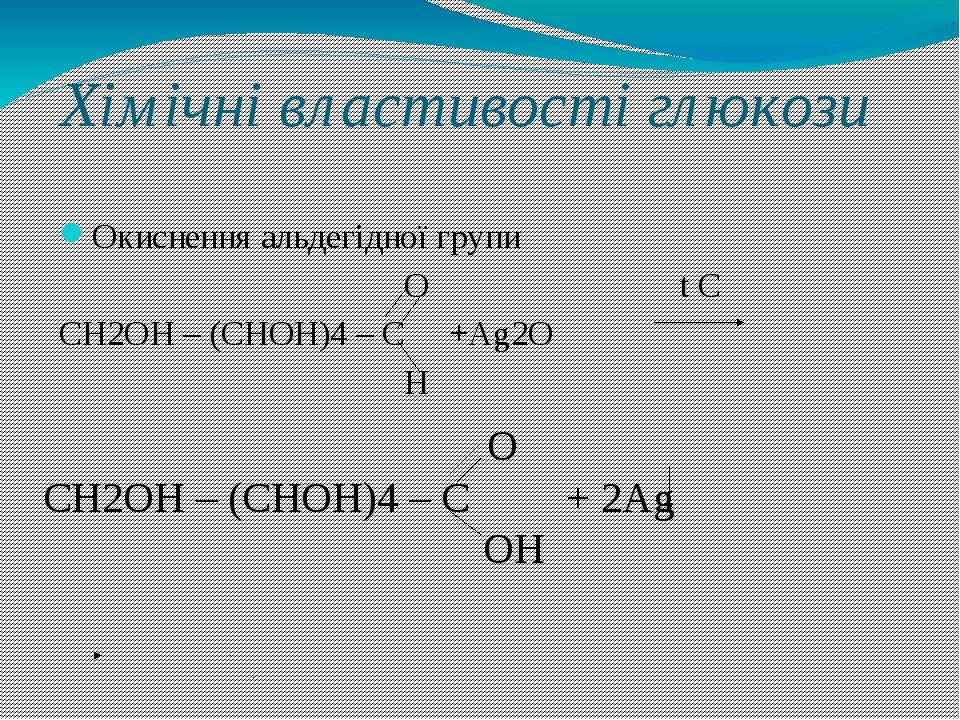 Хімічні властивості глюкози Окиснення альдегідної групи О t С СН2ОН – (СНОН)4 – С +Аg2О Н О СН2ОН – (СНОН)4 – С + 2Аg ОН