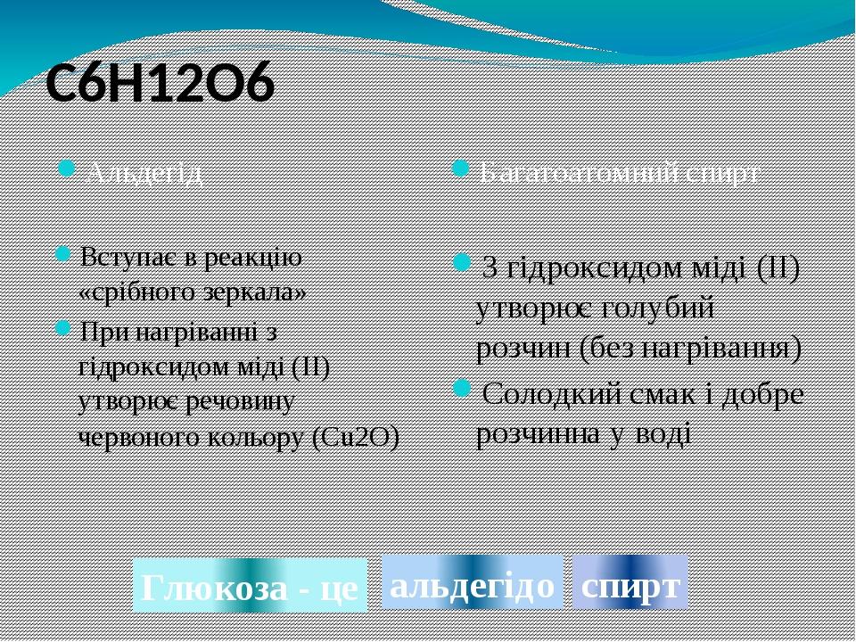 Багатоатомний спирт З гідроксидом міді (II) утворює голубий розчин (без нагрівання) Солодкий смак і добре розчинна у воді Альдегід Вступає в реакці...