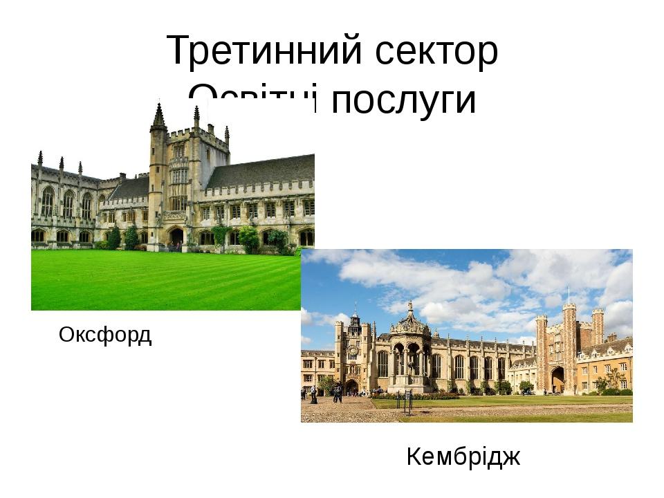 Третинний сектор Освітні послуги Оксфорд Кембрідж