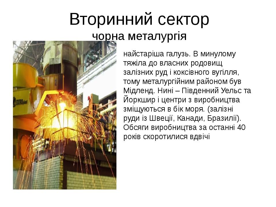 Вторинний сектор чорна металургія найстаріша галузь. В минулому тяжіла до власних родовищ залізних руд і коксівного вугілля, тому металургійним рай...