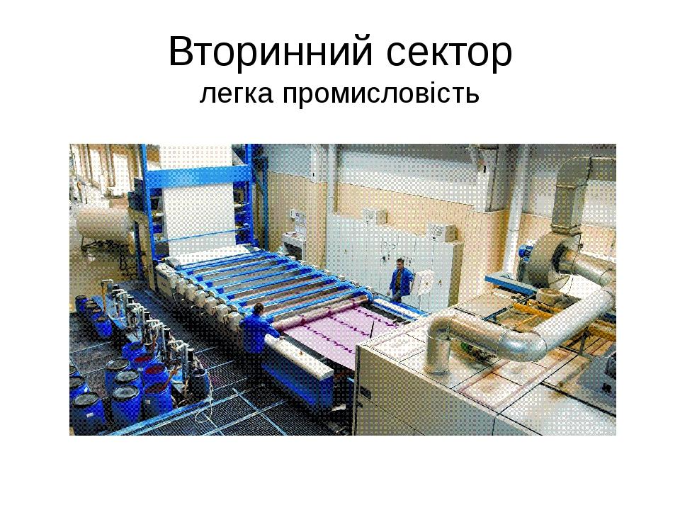 Вторинний сектор легка промисловість