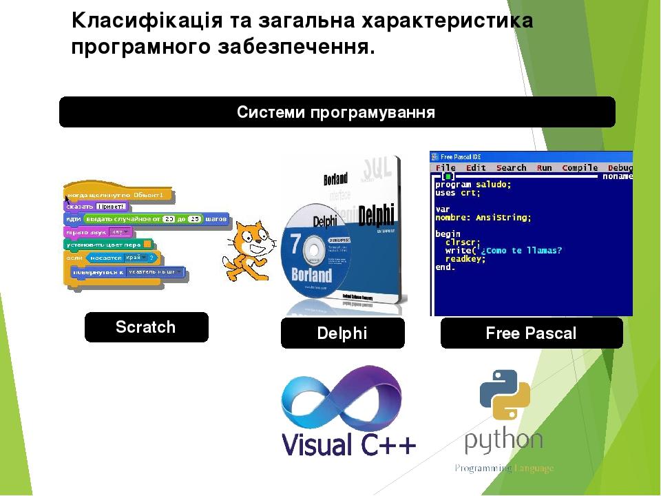 Системи програмування Класифікація та загальна характеристика програмного забезпечення. Free Pascal Delphi Scratch