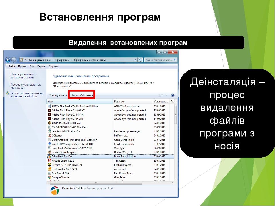 Встановлення програм Видалення встановлених програм Деінсталяція – процес видалення файлів програми з носія