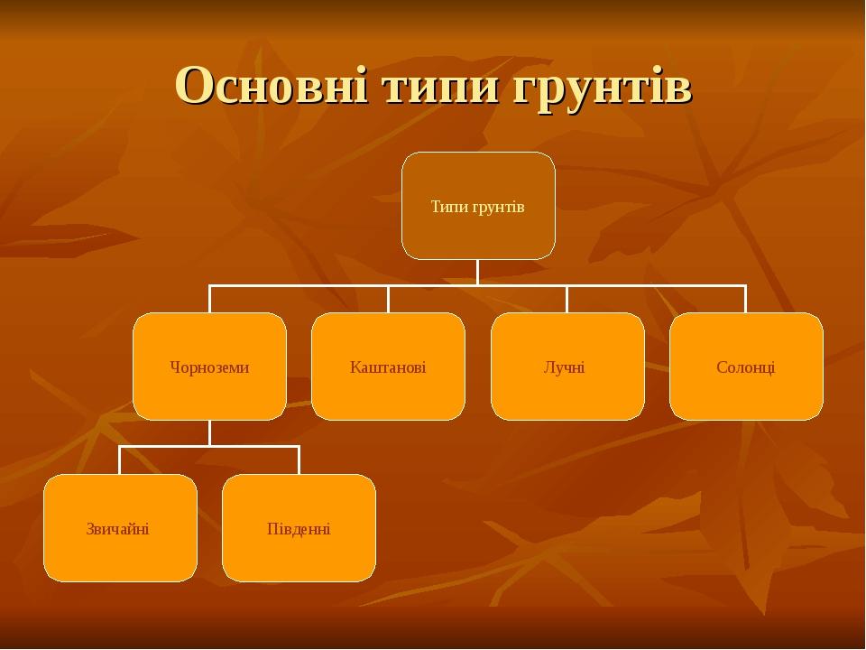 Основні типи грунтів