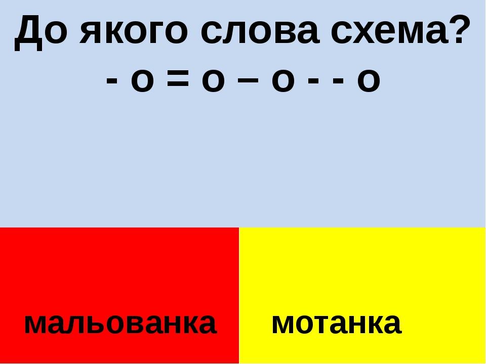 До якого слова схема? - о = о – о - - о мальованка мотанка