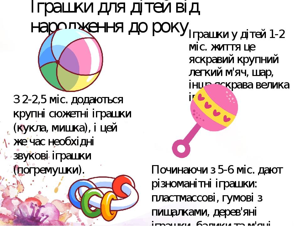 Іграшки для дітей від народження до року Іграшки у дітей 1-2 міс. життя це яскравий крупний легкий м'яч, шар, інша яскрава велика іграшка З 2-2,5 м...