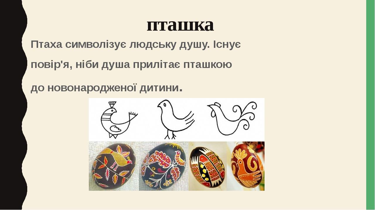 пташка Птаха символізує людську душу. Існує повір'я, ніби душа прилітає пташкою до новонародженої дитини.