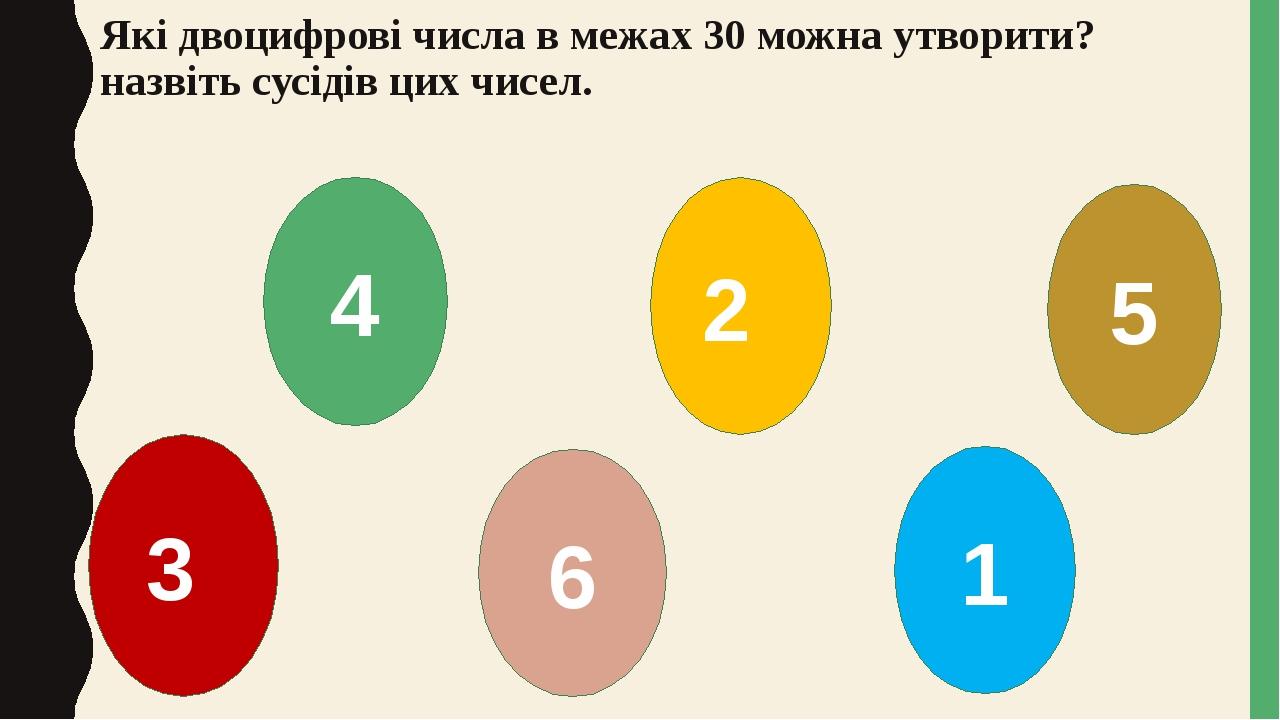 Які двоцифрові числа в межах 30 можна утворити? назвіть сусідів цих чисел. 3 2 1 5 6 4