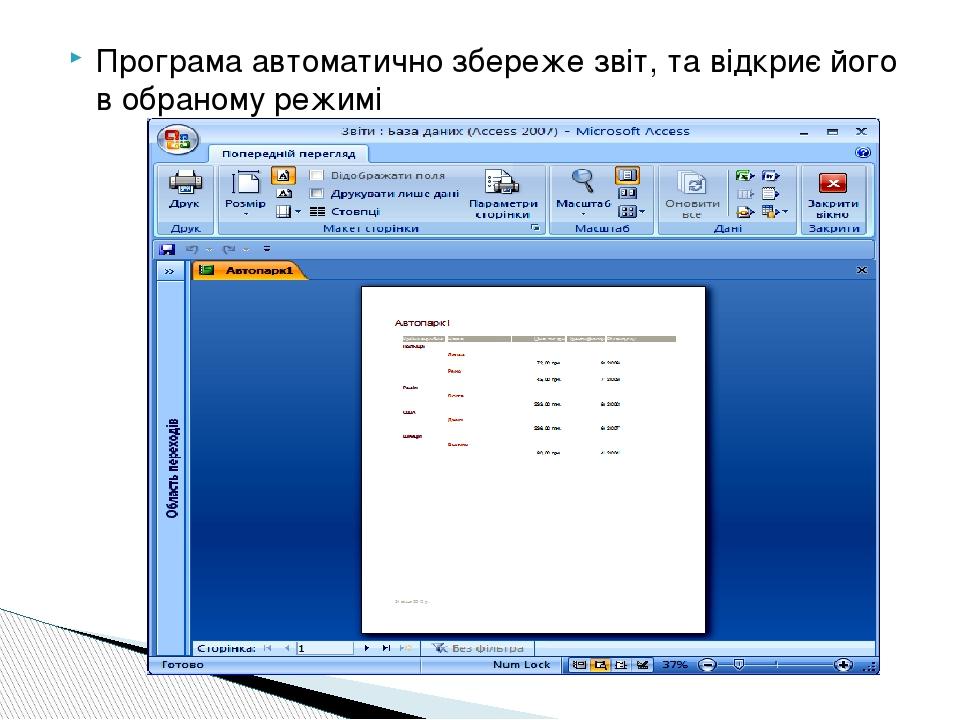 Програма автоматично збереже звіт, та відкриє його в обраному режимі