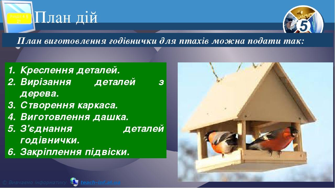 План дій План виготовлення годівнички для птахів можна подати так: Креслення деталей. Вирізання деталей з дерева. Створення каркаса. Виготовлення д...