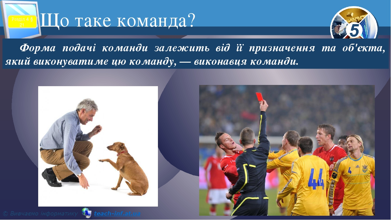 Що таке команда? Форма подачі команди залежить від її призначення та об'єкта, який виконуватиме цю команду, — виконавця команди. Розділ 4 § 21