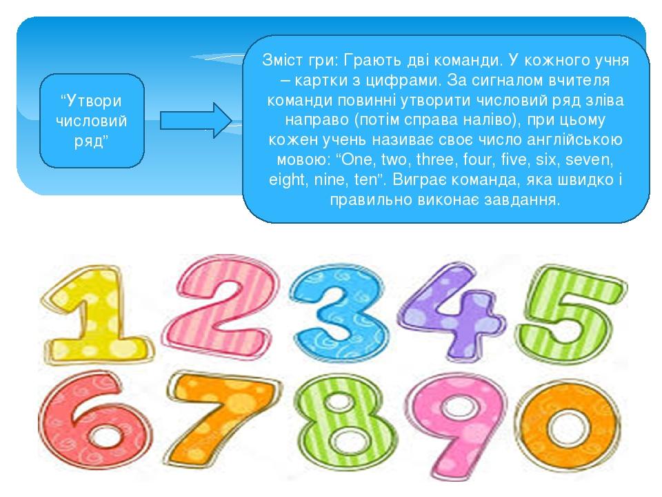 """""""Утвори числовий ряд"""" Зміст гри: Грають дві команди. У кожного учня – картки з цифрами. За сигналом вчителя команди повинні утворити числовий ряд з..."""
