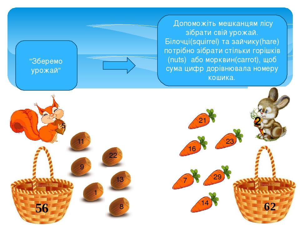 Допоможіть мешканцям лісу зібрати свій урожай. Білочці(squirrel) та зайчику(hare) потрібно зібрати стільки горішків (nuts) або морквин(carrot), щоб...