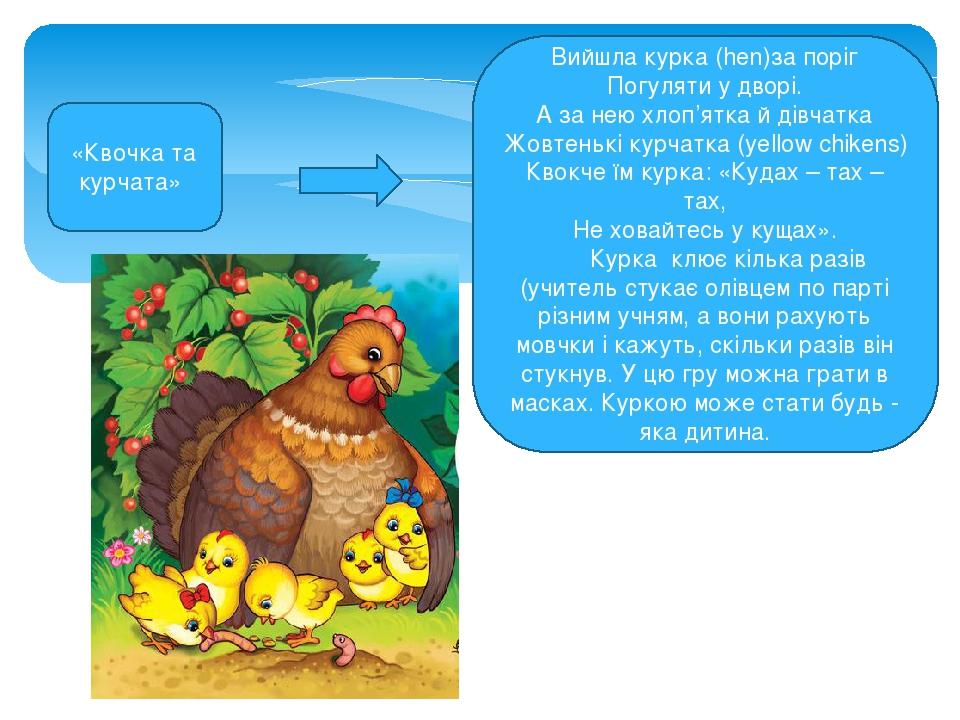 Вийшла курка (hen)за поріг Погуляти у дворі. А за нею хлоп'ятка й дівчатка Жовтенькі курчатка (yellow chikens) Квокче їм курка: «Кудах – тах – тах,...