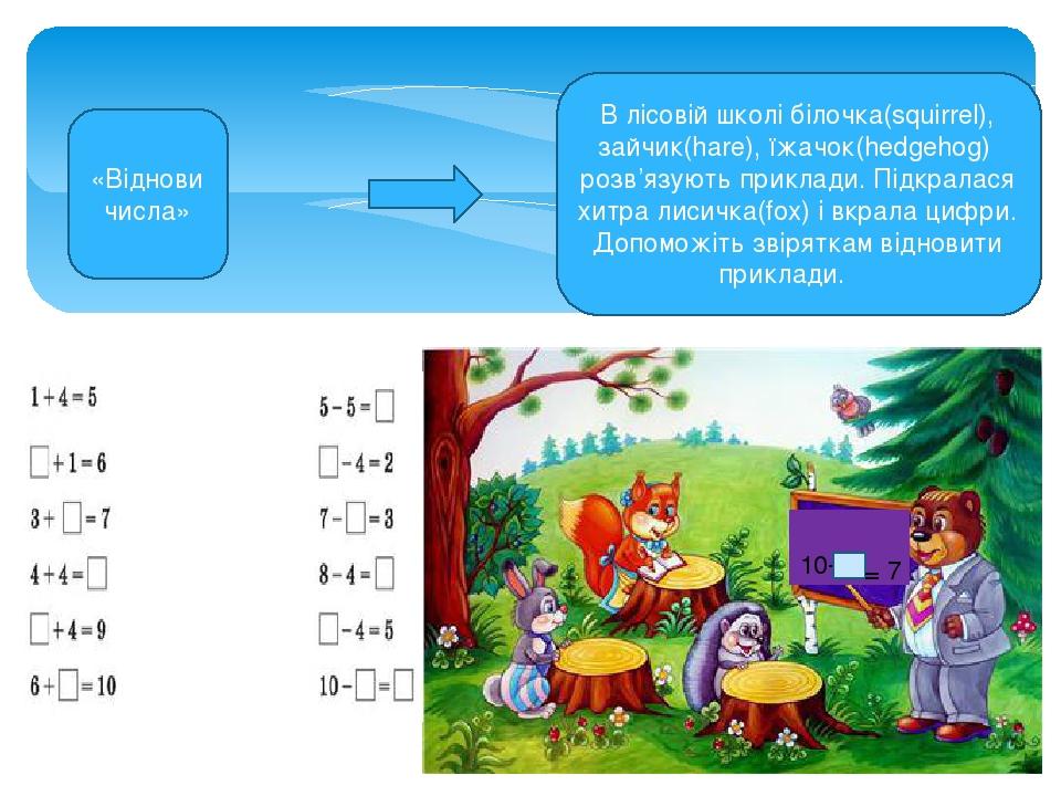 В лісовій школі білочка(squirrel), зайчик(hare), їжачок(hedgehog) розв'язують приклади. Підкралася хитра лисичка(fox) і вкрала цифри. Допоможіть зв...