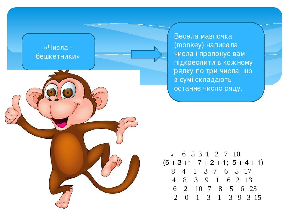 Весела мавпочка (monkey) написала числа і пропонує вам підкреслити в кожному рядку по три числа, що в сумі складають останнє число ряду. «Числа - б...