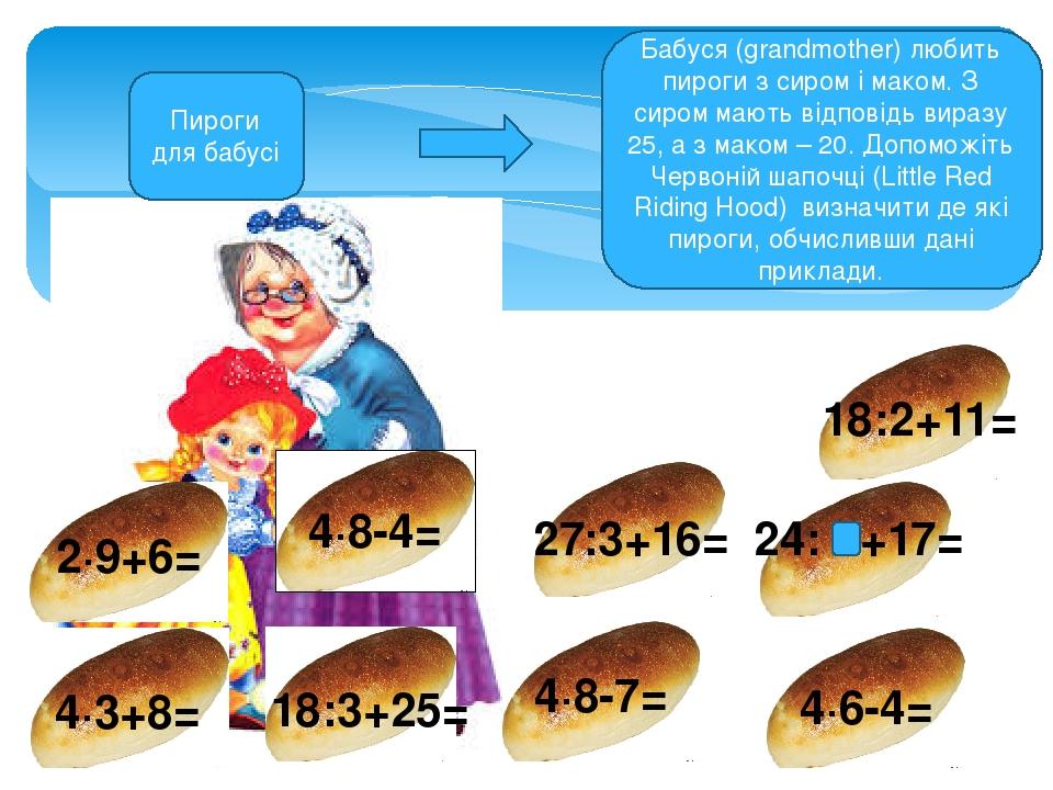 Пироги для бабусі Бабуся (grandmother) любить пироги з сиром і маком. З сиром мають відповідь виразу 25, а з маком – 20. Допоможіть Червоній шапочц...